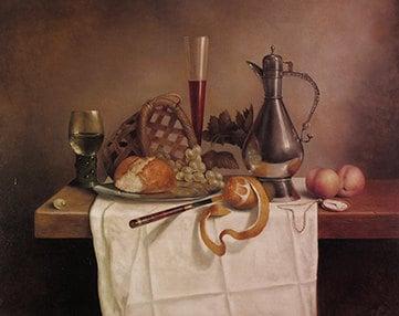 Stilleven met Brood 2002 – Olieverf op paneel – 100 x 78 cm